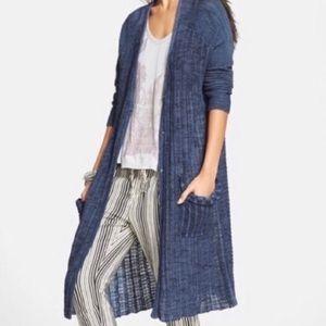 Free People Shadow Stripe Blue Duster Cardigan XS